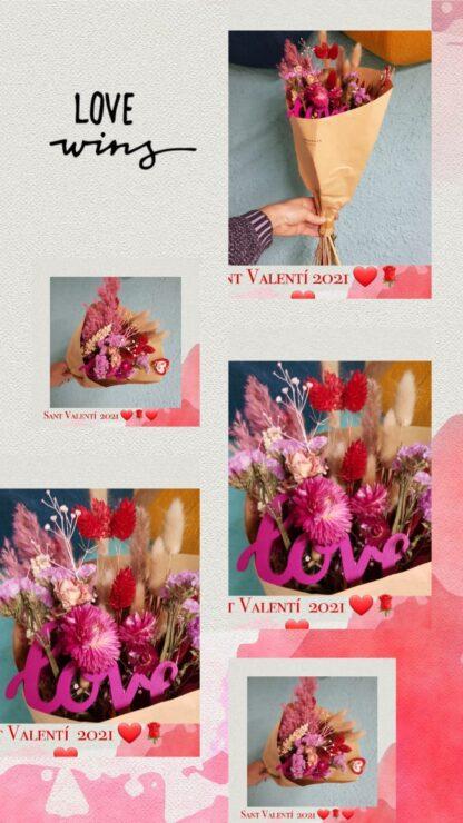 Ramo de flores secas especial de San Valentín
